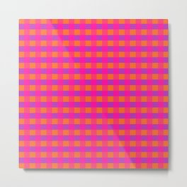 Jazzy Checks in Orange, Pink and Purple Metal Print