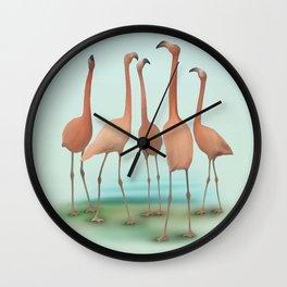 Flamingo Mingle Wall Clock