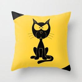 The angry cat print, animal cartoon design Throw Pillow