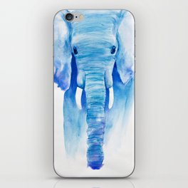 Majestic Blue Watercolor Elephant iPhone Skin