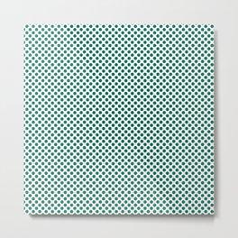 Ultramarine Green Polka Dots Metal Print