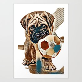 little puppy bullmastiff played in the house. square shape pictures        - Image Art Print