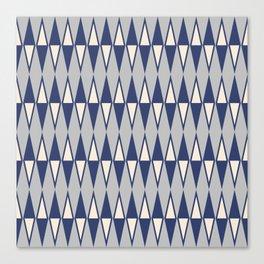 Mid Century Modern Diamond Pattern Blue and Gray 232 Canvas Print
