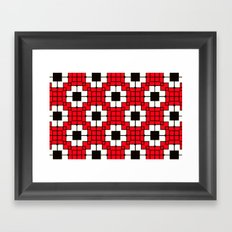 Retro Mosaic Red & Black Framed Art Print