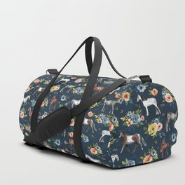 Wild Horses, Horse and Floral Print, Navy Blue, Watercolor Painting, Illustrated Horses, Flowers,  Duffle Bag