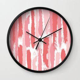 Brushstrokes Stripes Pattern - Pink, Rose, Coral, Peach Wall Clock