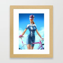 Cyclist girl Framed Art Print