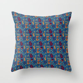 Cool Cat Pattern by Holly Shropshire Throw Pillow