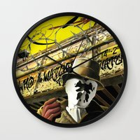 watchmen Wall Clocks featuring Who Watches The Watchmen? by SB Art Productions