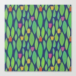 Flowers and Leaves - Midnight Canvas Print