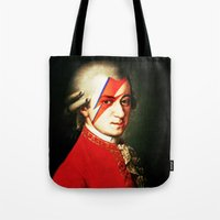 mozart Tote Bags featuring Mozart Bowie by rodalume