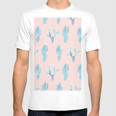 Blue Watercolor Cactus White Mens Fitted Tee MEDIUM
