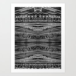 Linocut Tribal Pattern Art Print