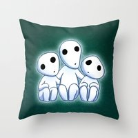 kodama Throw Pillows featuring Kodama, Tree Spirits by Lara Frizzell