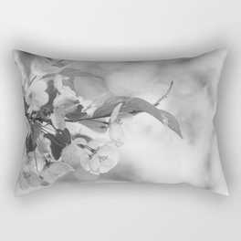 Full Bloom - Black and White Flower Photo Rectangular Pillow