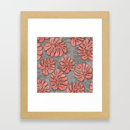 leaves coral pink on concrete grey seamless pattern Framed Art Print