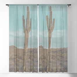 Saguaro // Desert Landscape Photography Arizona Teal Blue Sky National Park Cactus Vibes Sheer Curtain