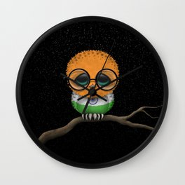 Baby Owl with Glasses and Indian Flag Wall Clock