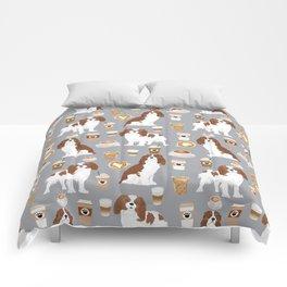 Cavalier King Charles Spaniel coffee lover custom pet portrait by pet friendly dog breeds Comforters