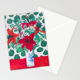 Tropical Lily Bouquet in Delft Vase with Matisse Leaf Cutout Background Stationery Cards