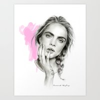 cara Art Prints featuring Cara by Coconut Wishes