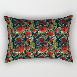 Australian Native Floral Pattern - Red Banksia Flowers Rectangular Pillow