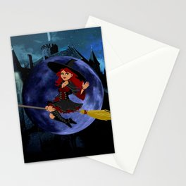 Halloween Witch and Blue Moon Stationery Cards