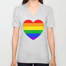 Rainbow Heart Unisex V-Neck