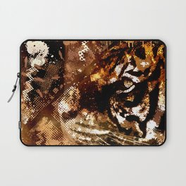 Bengal Tiger in  Abstract Paint Digital art Laptop Sleeve