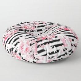 Vintage blush pink floral black white stripes Floor Pillow