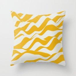 Yellow wave stripe Throw Pillow