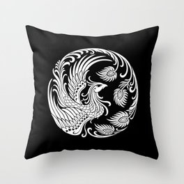 Traditional White and Black Chinese Phoenix Circle Throw Pillow