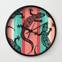 southwest Wall Clocks featuring Southwest Gecko by Lisa Argyropoulos