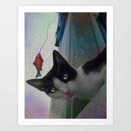 Cat chasing fish at the window Art Print