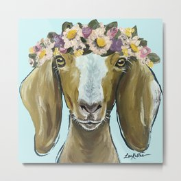 Goat Art, Flower Crown Animal, Cute Goat Painting Metal Print