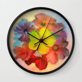 Colorful Hibiscus Bouquet Wall Clock