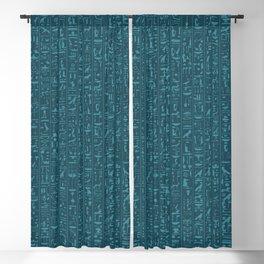 Hieroglyphics Moonstone BLUE / Ancient Egyptian hieroglyphics pattern Blackout Curtain