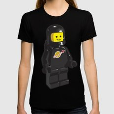 Vintage Lego Black Spaceman Minifig Womens Fitted Tee Black X-LARGE