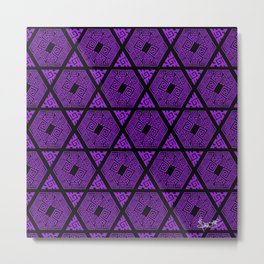 Kagome Greek Fret ... Purple Metal Print