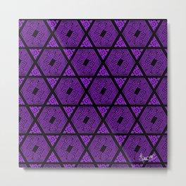 Kagome Greek Fret ... Purple Metal Print