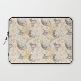 Skulls, Flowers and Butterflies pattern on ivory Laptop Sleeve