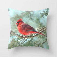 Dreamy Morning (Northern Cardinal) Throw Pillow