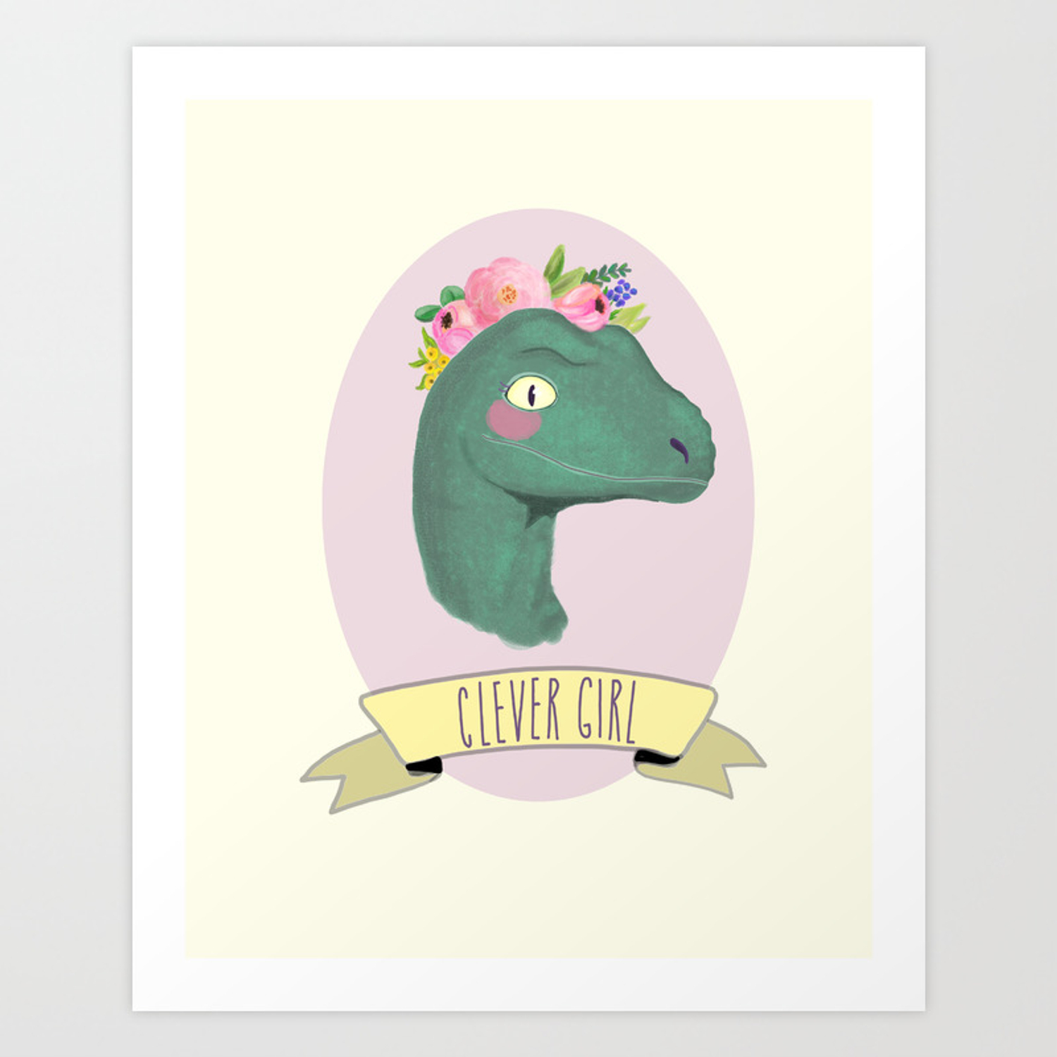Clever Dinosaur Juric Park Gift For Her Boho Baby Animal Nursery Decor Feminist Art Print