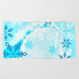 Blue Flower Art Winter Holiday Beach Towel
