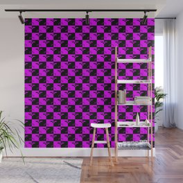 Hot Pink and Black Checkerboard Scales of Justice Legal Pattern Wall Mural