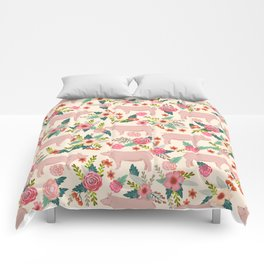 Pig florals farm homesteader pigs cute farms animals floral gifts Comforters