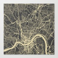 cincinnati Canvas Prints featuring Cincinnati Yellow by Map Map Maps