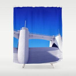 Sepulveda Dam on blue Shower Curtain