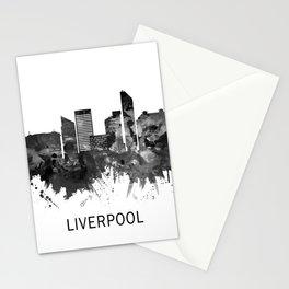 Liverpool England Skyline BW Stationery Cards