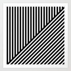 Black & White Stripes & Diagonals Art Print